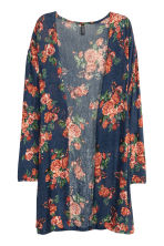 Fine-knit cardigan - Dark blue/Floral - Ladies | H&M GB 2