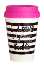 Takeaway mug - White/Striped - Ladies | H&M CN 1