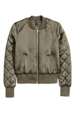 Short satin bomber jacket - Khaki green - Ladies | H&M GB 2