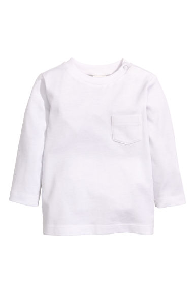 Long-sleeved T-shirt - White -  | H&M 1