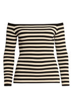 H&M+ Off-the-shoulder top - Light beige/Striped - Ladies | H&M GB 2