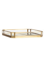 Metal tray with glass sides - Gold - Home All | H&M GB 2