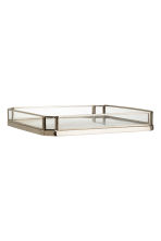 Metal tray with glass sides - Silver - Home All | H&M CN 1