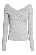Off-the-shoulder top - Light grey marl - Ladies | H&M CN 2