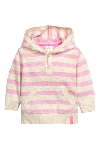 Fine-knit hooded jumper - Pink/Striped - Kids | H&M CN 1