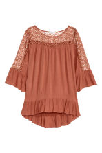 Blouse with lace details - Rust - Ladies | H&M CN 2