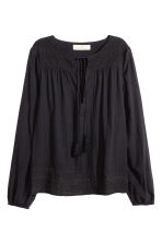 Embroidered cotton blouse - Black - Ladies | H&M CN 2