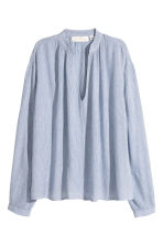 Wide blouse - Light blue/Striped - Ladies | H&M GB 2