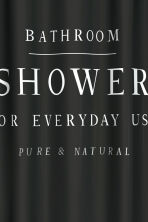 Text-print shower curtain - Black - Home All | H&M GB 3