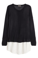H&M+ Fine-knit jumper - Black/White - Ladies | H&M GB 2