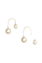 U-shaped earrings - Gold/White - Ladies | H&M GB 1