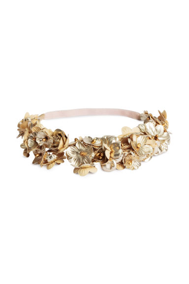 Hairband with flowers - Gold - Ladies | H&M CN 1