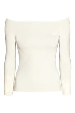 Ribbed off-the-shoulder top - White - Ladies | H&M CN 2