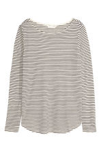Long-sleeved jersey top - Natural white/Striped - Ladies | H&M GB 2