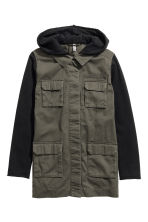Hooded cargo jacket - Khaki green -  | H&M CN 2