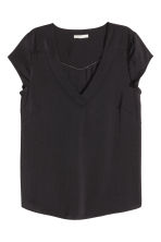 V-neck satin blouse - Black - Ladies | H&M CN 2