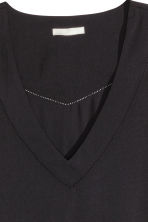 V-neck satin blouse - Black - Ladies | H&M CN 3