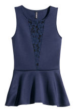 Sleeveless peplum top - Dark blue - Ladies | H&M CN 2