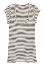 Ribbed jersey top - Natural white/Striped - Ladies | H&M CN 2