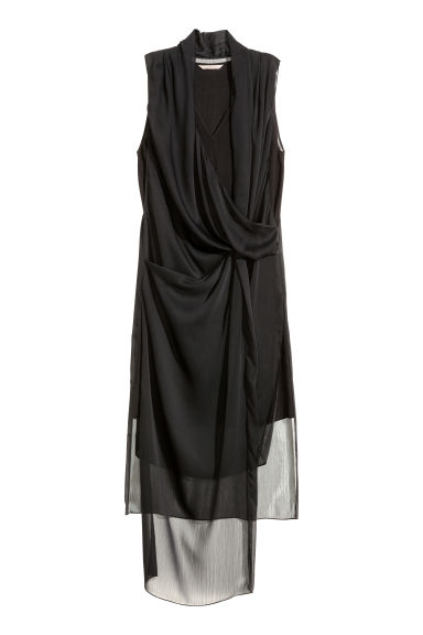 Black dress in h m - Draped Chiffon Dress Black Ladies H M