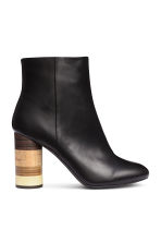 Ankle boots with wooden heels - Black - Ladies | H&M CN 1