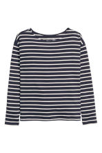 Striped jersey top - Dark blue/Striped - Ladies | H&M GB 2