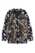 Jacquard-weave bomber jacket - Black/Floral - Ladies | H&M GB 2