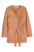 Leather jacket with a tie belt - Beige - Ladies | H&M GB 2
