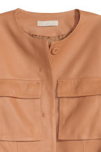 Leather jacket with a tie belt - Beige - Ladies | H&M GB 4