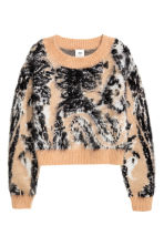 Knitted wool-blend jumper - Beige/Patterned - Ladies | H&M GB 2