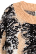 Knitted wool-blend jumper - Beige/Patterned - Ladies | H&M GB 3