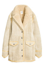 Suede coat - Light beige - Ladies | H&M GB 2