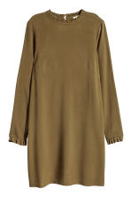 Dress with frill trims - Khaki green - Ladies | H&M CN 2
