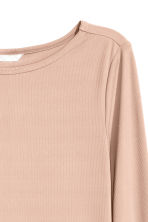 Ribbed top - Powder beige - Ladies | H&M CN 3