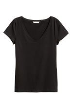 T-shirt in jersey scollo a V - Nero - DONNA | H&M IT 2