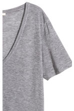 Silk-blend top - Grey marl - Ladies | H&M CN 3
