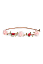 Hairband with flowers - Pink/Red - Ladies | H&M CN 1