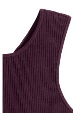 Ribbed top - Dark plum - Ladies | H&M CN 3