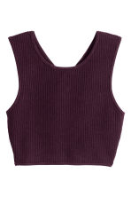 Ribbed top - Dark plum - Ladies | H&M CN 1