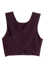 Ribbed top - Dark plum - Ladies | H&M CN 2