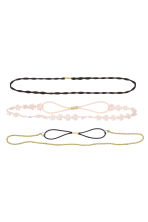 3-pack hairbands - Light pink/Black/Gold - Ladies | H&M CN 1