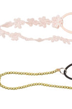 3-pack hairbands - Light pink/Black/Gold - Ladies | H&M CN 2