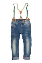 Tapered Jeans with braces - Denim blue - Kids | H&M CN 2