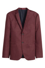Linen-blend jacket Slim fit - Burgundy - Men | H&M CN 2