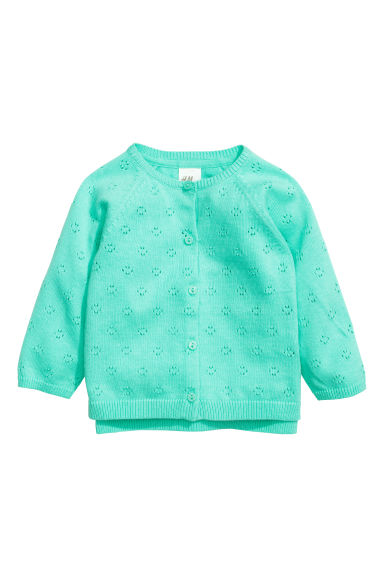 Hole-patterned cardigan - Mint green - Kids | H&M ... - Hole-patterned Cardigan - Mint Green - Kids H&M IE