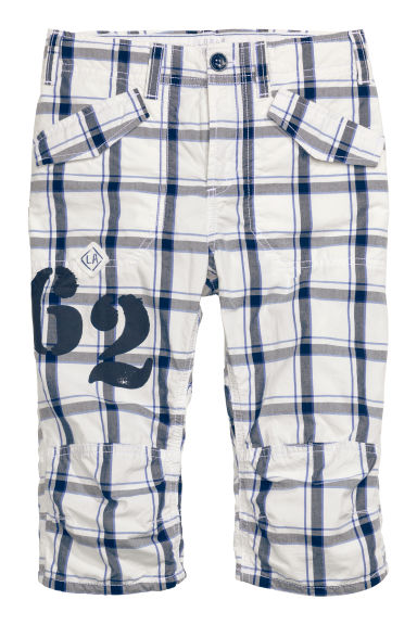 Generous fit Clamdiggers - White/Checked - Kids | H&M CN 1
