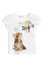 Jersey top with puff sleeves - White/Animal - Kids | H&M CN 2