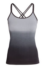 Seamless yoga top - Black/Grey - Ladies | H&M CN 2