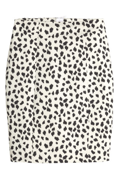 Short pencil skirt - Natural white/Patterned - Ladies | H&M CN 1