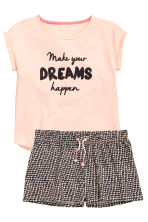 Pyjamas with shorts - Powder pink - Kids | H&M CN 1